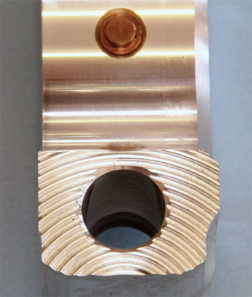 """To positively locate the connecting rod body and cap, and to prevent the components from """"walking,"""" premium aluminum connecting rods feature radial serrations, such as those found on the GRP aluminum units."""