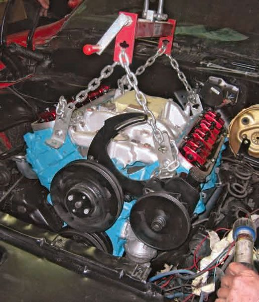 engine rebuilding guide for pontiac trans am and firebird the engine is being moved into position for installation this w72 400 ci engine