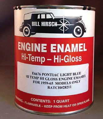 Bill Hirsch Automotive Products offers a wide range of high-quality automotive paints, including a high-temperature, high-gloss engine enamel paint. This paint matches the factory cast-iron GTO exhaust manifold finish so your GTO's value benefits from this correct finish. If you are using a spray gun and you want the best results possible, a high-temperature, high-gloss paint, such as Bill Hirsch, does a great job. This paint is safe to 700 degrees F, so it holds up bet¬ter than other types. (Photo Courtesy Bill Hirsch Automotive Products)