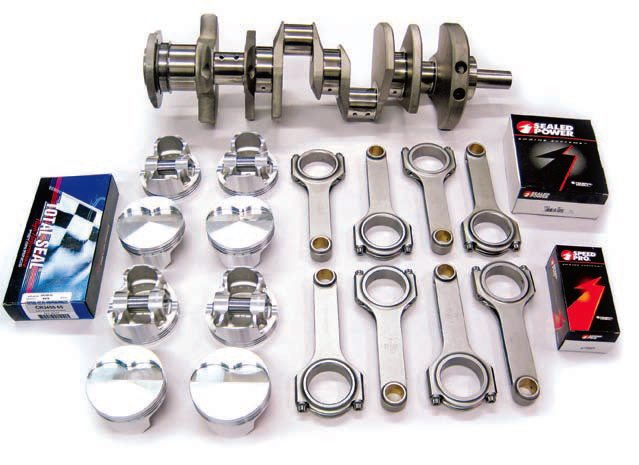 This Butler Performance stroker kit features forged rods, pistons, and a crank¬shaft. Best of all, it can be slipped into a regular 389 or 400 block and provides a huge increase in displacement and torque, while retaining a bone-stock look. (Photo Courtesy Butler Performance)