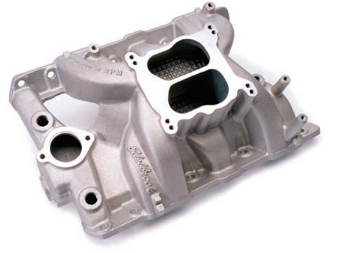 If you are looking to increase the power of your Pontiac stroker motor and aren't concerned about looking completely correct under the hood, this Edelbrock Per¬former RPM intake manifold offers a substantial increase in airflow and also shaves more than 40 pounds off the nose of your GTO. This high-performance top end can be painted to give a more factory-stock appearance. (Photo Courtesy Edelbrock)