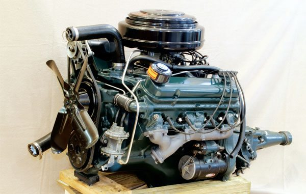 """The new OHV V-8 """"Strato Streak"""" engine debuted in 1955. Displacing 287 ci, the entry-level 2-barrel mill was packed full of cutting-edge features and was rated at 173 hp. An optional 4-barrel carburetor was made available midyear, which increased horsepower to 200."""
