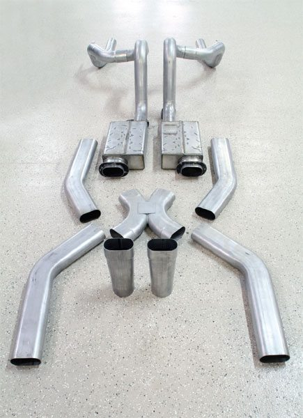 Round exhaust tubing measuring 3 inches or more may be impractical for some applications. RARE offers a complete exhaust system that features oval tubing entering the muffler and round tailpipes to maximize available space. The oval tubing provides the same amount of total area as a round pipe, but it doesn't sacrifice valuable ground clearance.
