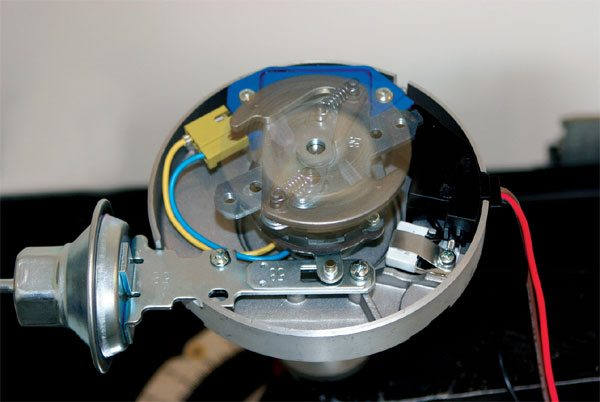 As engine speed increases, spark must occur earlier to provide optimal performance. A distributor contains an internal mechanism that uses centrifugal force to advance spark timing. It's a very simple setup that's easily adjusted by replacing the small springs, weights, and/ or center cam, depending upon the distributor type.