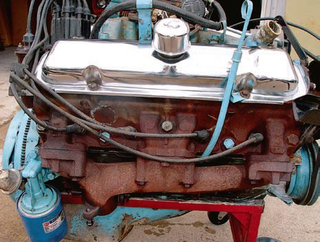 This 389 Tri-Power from a 1965 GTO is ready to be disassembled and rebuilt. Visually examine the block and look for any cracks or damage in the cast¬ing. Look for any carbon deposits between the block and the head because that could indicate a head gasket failure. That could mean there's serious inter¬nal engine damage, such as scored pistons and cylinder walls. In addition, look at the intake and exhaust manifolds for any cracks, breaks, or other obvious damage.  As part of any inspection process, you should Magnaflux the block, heads, intake, and exhaust manifolds to ensure they're free of damage. The process identifies cracks and other deformations that are not obvious to the naked eye. Before turning any wrenches, generously apply penetrating oil on all bolts, so you're able to remove them without stripping them. Here, the casting number-77 cylinder head stamping is clearly visible on the number-2 (front) exhaust port. Most years have the head casting number on the center exhaust ports. (Photo Courtesy Scott Tiemann)