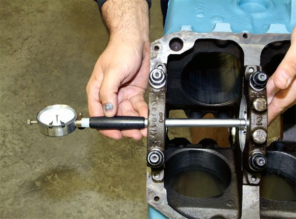Bearing clearance is most accurately measured using a dial bore gauge with recordings taken 90 degrees from the bearing parting line. Subtracting that measurement from the crankshaft diameter leaves you with the exact amount of clearance. Main and rod bearing clearance should each measure at least .0025 inch, depending upon the application. Similar results can be attained using Plastigage or a similar product if a dial bore gauge isn't available.
