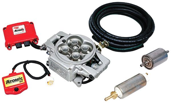 The Atomic EFI from MSD is an aftermarket fuel injection system that features a compact throttle body fitted with fuel injectors that simply and effectively replaces the square-bore carburetor. In addition to the self-contained throttle body, the kit includes a compact computer, various wiring harnesses, a pulse-width modulated fuel pump, and a sufficient supply of high-pressure fuel hose for easy and complete installation. (Photo Courtesy MSD Performance)
