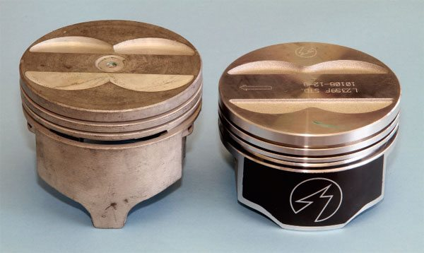 When compared to the modern Speed Pro piston (right), it's easy to see how much in uence Pontiac's original cast piston (left) had on the design of the TRW original stock replacement forging. Federal- Mogul purchased TRW in 1992 and began producing the pistons in June 2001, incorporating some modern technology in the process. The most apparent changes are in the skirt area.