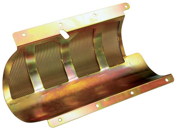 Canton produces a Pontiac windage tray that uses mesh screen to control oil aeration and improve horsepower. Covering all five journals, it rests on the oil pan rail and is retained by the oil pan and its fasteners. It's compatible with the stock oil pan and most stroker assemblies. Canton also offers a similar unit that uses stamped louvers in place of the mesh screen.