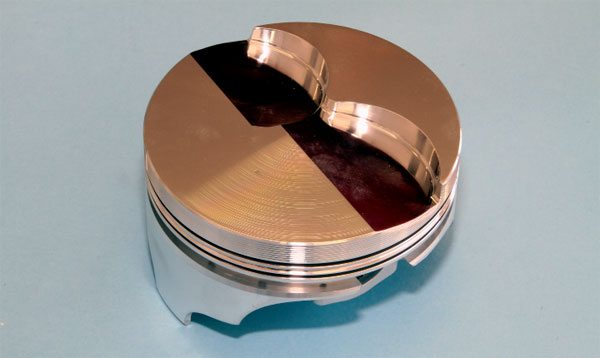 For those using an aftermarket block with a bore diameter of 4.35 inches, KB offers at least one off-the-shelf forged piston for 505-plus-ci engines in standard size, and in .005- and .010-inch over sizes. KB number-IC631 is designed for use with 6.8-inch connecting rods and features a compression height of 1.29 inches. The valve pocket measures just over 15 cc, which achieves a compression ratio of 10:1 when using 87-cc cylinder heads on a 505-ci Pontiac V-8.