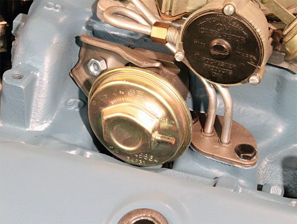 The basic intake manifold casting was modified to accept emissions equipment over the years. An exhaust gas recirculation valve (EGR) was added to its passenger side in 1973. It remained in that position until traditional V-8 production ceased in 1978. Despite the negative perception, EGR didn't affect the performance potential of the castings.