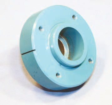 This crankshaft hub appeared in mid 1976 on most 350- and 400- inch engines backed by an automatic transmission, including the 400 used in the Trans Am. It offers no dampening quality whatsoever. Its primary purpose is driving engine accessories and providing a top dead center mark for setting spark timing. It should be replaced with a traditional harmonic balancer during any rebuild.