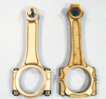 The stock cast Pontiac connecting rod (right) is sufficient for any street-driven application. Each rod should be magnetic particle inspected for cracks, measured and machined, and new fasteners added. For the cost of reconditioning an original set, I feel it's worthwhile to invest in a set of forged 5140-steel rods like those produced by RPM Industries (left). The RPM offering features dimensions identical to Pontiac's original rod and can be considered a modern replacement for any application where originals are being considered. The RPM rods are available from most Pontiac vendors for less than $300.