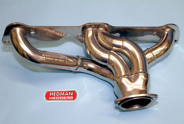 Hedman produces a shorty-style header for GTO and Firebird applications. On a dyno it performs similarly to a RARE Ram Air manifold with oversized outlet, but it weights substantially less. That benefits weight-conscious racers that are working with limited chassis space. Like other Hedman products, its shorty header is well made and has a very thick cylinder head flange to prevent gasket leaks.
