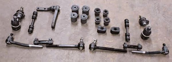 This is a complete front suspension deluxe kit with tie rods. Over time, bushings, ball joints, and chassis isolators absorb energy, crack, and wear out. Tie-rod ends and bolts are designed for only so much use. A kit such as this not only improves handling and comfort, but these fresh parts help the front suspension to function as designed and enhance safety. If your car has more than 70,000 miles or it's been 10 years or more since the front end components have been replaced, it's time to replace them.