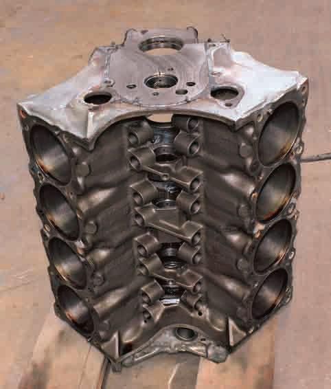 This Ram Air III 400 block has been dismantled and prepared for the machine shop to start the rebuilding process. The Ram Air III engine was used for the 1970 model year only.