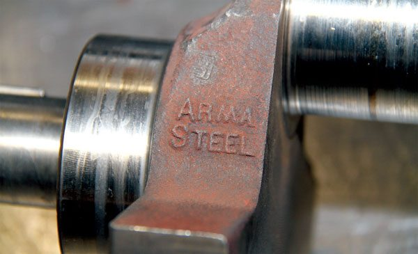 Armasteel is a specific iron alloy developed by GM that possesses some steel-like strength qualities. Pontiac used it when casting certain rear axle housings, connecting rods, and crankshafts. Armasteel cranks were commonly used during the 1960s for specific performance applications where additional crank durability was required. Such cranks can be identified by the Armasteel name cast into it, and they make an excellent choice for performance use.
