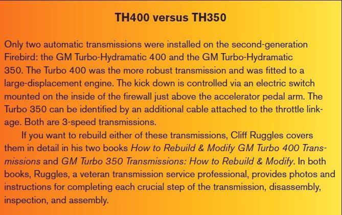 Pontiac Trans Am & Firebird: Transmission Rebuilding Guide