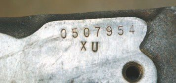 "To identify the block, the 2-digit engine code, ""XU"" in this instance, denotes original application. It is located on the front of the block, just below deck surface of the passenger side. The six- or sevendigit numeric stamp just above it is the engine serial number (ESN), which is the engine's sequential build number. It does not directly correlate to the vehicle identification number (VIN) of the vehicle in which it was originally installed."