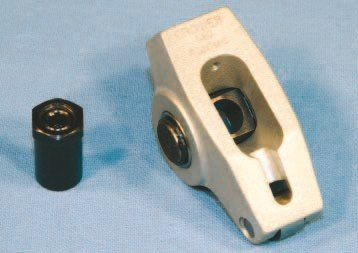 In addition to its roller tip, full roller rocker arms include a roller trunion, which reduces the friction and valve loading associated with ball stud– type units. Premium examples like this 1.6:1 cast-alloy unit from Crower generally provides more consistent ratio, which can translate into smoother and more consistent engine operation. Though cheaper examples may seem attractive, I suggest spending the extra money for higher-quality units from popular manufacturers.