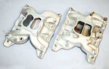 The original Pontiac intake manifold is an excellent dual-plane unit, but its cast-iron construction makes it relatively heavy. Edelbrock offers two distinct cast-aluminum manifolds that can be used as stocktype replacements. The Performer series manifold fits and functions much like the stock piece (right). The Performer RPM series manifold fits similarly but is more than 1 inch taller than stock and is designed to extend the effective powerband by several hundred RPM (left). The owners have removed the coolant crossovers on these units.