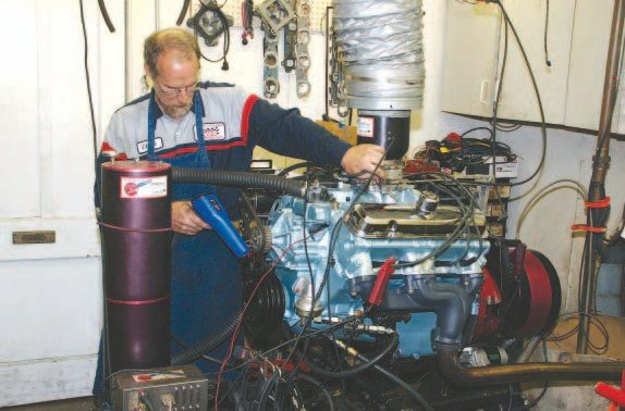 An engine dyno is a common site at higher-end engine shops. It's an excellent tool to start-up and break-in a new engine while checking for oil and coolant leaks. Its primary use, however, is to measure the full-throttle horsepower and torque an engine generates. A complete dyno session should include adjusting the carburetor and distributor to find the settings that produce peak power.