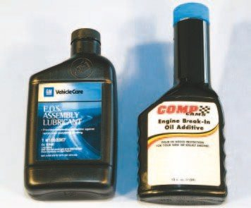 General Motors Engine Oil Supplement (E.O.S.) is a heavily concentrated lubricant that's packed full of desirable anti-wear additives (left). It is readily available from your nearest GM dealer (number 88862586). Most camshaft manufacturers, like Comp Cams, offer a proprietary oil additive specifically designed for flat-tappet camshaft break-in (right). Either is an excellent choice that can be mixed with oil at regular change intervals to provide sufficient flat-tappet camshaft protection during normal operation.