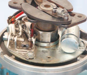 A contact points set was a common sight inside almost any new-car distributor wells into the 1970s. The coil saturates with current while the points are closed, and the resistance that occurs when the points are open is released as an electrical spark that jumps the spark plug gap. New contact points sets are available at local auto parts stores. Most hobbyists elect to convert from mechanical to electronic operation.