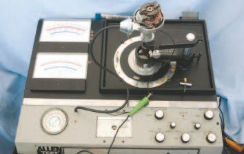 Electronics companies, such as Sun and Allen, offered a number of different distributor testers like this Allen Syncrograph, which was produced in the early 1980s. They were once used by service professionals to test complete functionality of a distributor. Speed shops used them to adjust the mechanical advance curve for optimum performance. Fully functional units are quite rare. If you have a distributor that you need re-curved, you may be able to find someone who has one locally by simply by asking around.