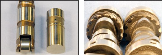 The major advantage that roller cams offer over flat-tappet grinds is friction reduction. Roller lifters feature a hardened steel wheel that can follow a much more aggressive lobe profile when compared to a similar flat-tappet (left). Roller cams can allow the valve to open and close at a much quicker rate while providing more dwell area under the curve (right).